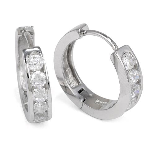 Sterling Silver Hoop CZ Earrings