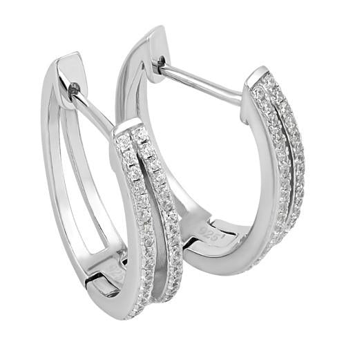 Sterling Silver Hoops CZ Earrings
