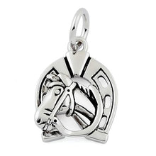 Load image into Gallery viewer, Sterling Silver Horse in Horse Shoe Pendant