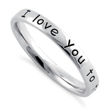 "Load image into Gallery viewer, Sterling Silver ""I Love You to the Moon and Back"" Ring"