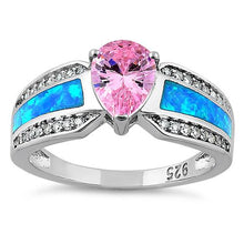 Load image into Gallery viewer, Sterling Silver Illustrious Blue Lab Opal & Pink Pear Cut & Clear CZ Ring