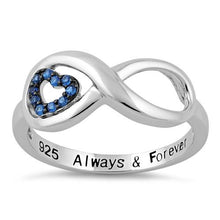 "Load image into Gallery viewer, Sterling Silver Infinity Blue Spinel Heart ""Always & Forever"" Engraved CZ Ring"