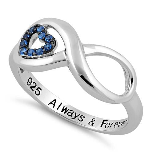 Sterling Silver Infinity Blue Spinel Heart