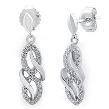 Load image into Gallery viewer, Sterling Silver Infinity CZ Dangle Earrings