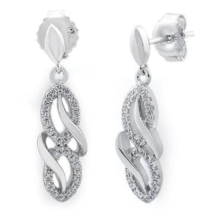 Sterling Silver Infinity CZ Dangle Earrings