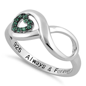 Sterling Silver Infinity Emerald Heart