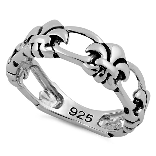 Sterling Silver Eternity Fleur de Lis Ring