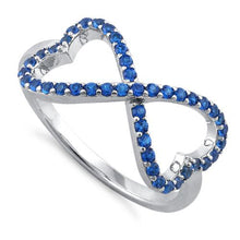 Load image into Gallery viewer, Sterling Silver Infinity Heart Blue Spinel CZ Ring