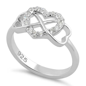 Sterling Silver Infinity Heart Clear CZ Ring