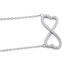 "Load image into Gallery viewer, Sterling Silver Infinity Heart CZ 16"" Necklace"