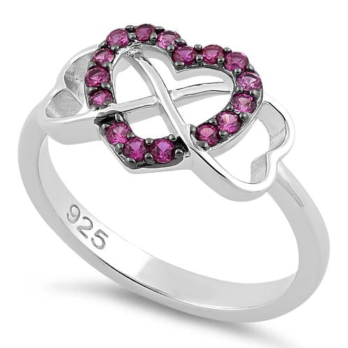 Sterling Silver Infinity Heart Ruby CZ Ring