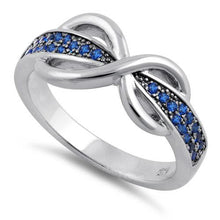 Load image into Gallery viewer, Sterling Silver Infinity Pave Blue CZ Ring