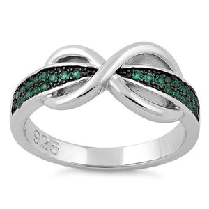 Sterling Silver Infinity Pave Emerald CZ Ring