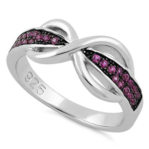Sterling Silver Infinity Pave Pink CZ Ring