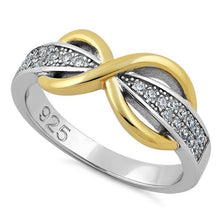 Load image into Gallery viewer, Sterling Silver Infinity Pave Two-Tone Clear CZ Ring