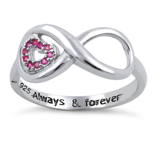 "Sterling Silver Infinity Ruby Heart ""Always & Forever"" Engraved CZ Ring"