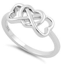 Load image into Gallery viewer, Sterling Silver Infnifty Hearts Ring