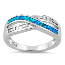 Load image into Gallery viewer, Sterling Silver Inifinity Greek Pattern Lab Opal Ring