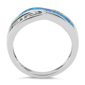Sterling Silver Inifinity Greek Pattern Lab Opal Ring