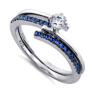 Sterling Silver Interlace Blue CZ Ring Set