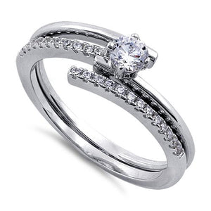 Sterling Silver Interlace Clear CZ Ring Set