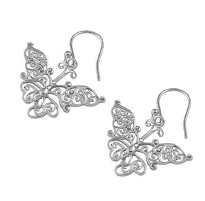 Sterling Silver Intricate Butterfly Hook Earrings