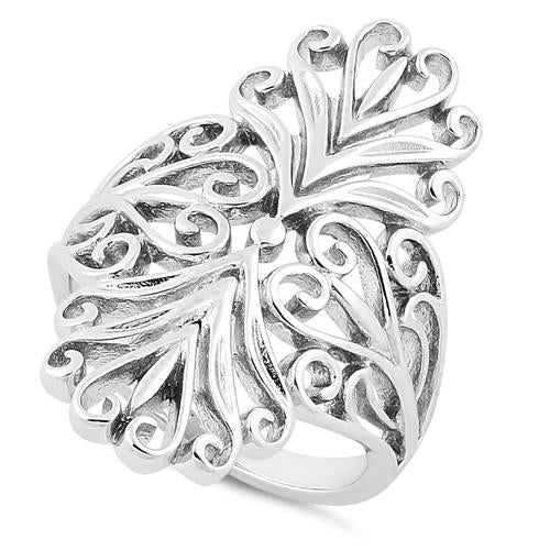 Sterling Silver Intricate Curly Hearts Ring