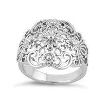 Load image into Gallery viewer, Sterling Silver Intricate Flowers Ring