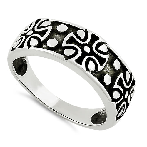 Sterling Silver Iron Cross Band Ring