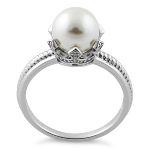 Sterling Silver King Crown Synthetic Pearl CZ Ring