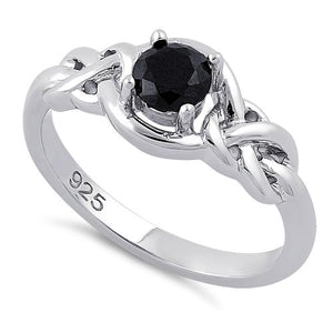 Sterling Silver Knot Frame Round Cut Black CZ Ring