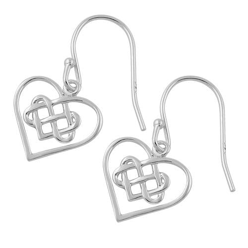 Sterling Silver Knotted Heart Hook Earrings