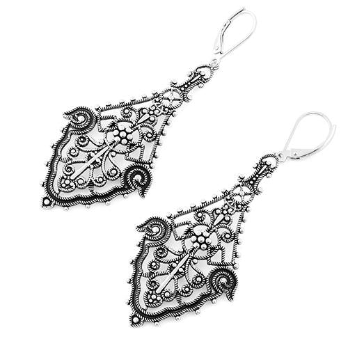 Sterling Silver Large Chandelier Dangle Earrings