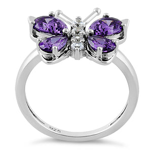 Sterling Silver Amethyst Butterfly CZ Ring