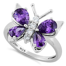 Load image into Gallery viewer, Sterling Silver Amethyst Butterfly CZ Ring