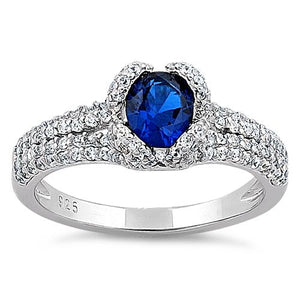 Sterling Silver Lavish Oval Cut Blue Spinel CZ Ring