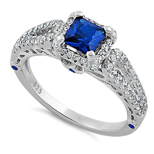 Sterling Silver Lavish Princess Cut Blue Spinel CZ Ring