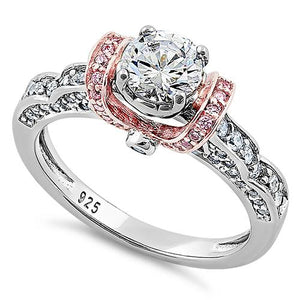 Sterling Silver Lavish Two Tone Rose Gold Plated Round Cut Clear & Pink CZ Ring