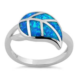 Sterling Silver Leaf Blue Lab Opal Ring