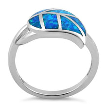 Load image into Gallery viewer, Sterling Silver Leaf Blue Lab Opal Ring