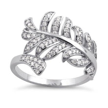 Load image into Gallery viewer, Sterling Silver Leaf Clear CZ Ring