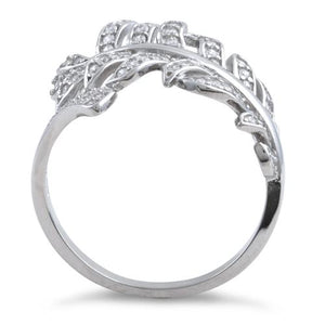 Sterling Silver Leaf Clear CZ Ring