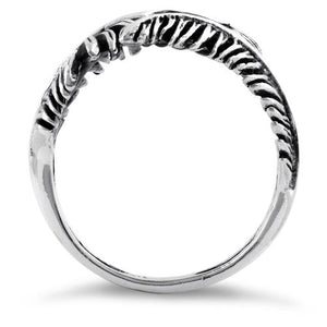 Sterling Silver Leaf Flower Ring