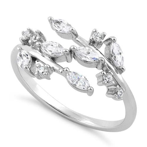 Sterling Silver Leaves CZ Ring