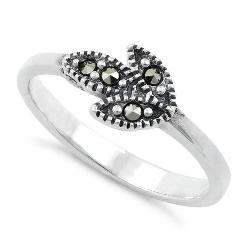 Sterling Silver Leaves Marcasite Ring