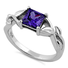 Load image into Gallery viewer, Sterling Silver Leaves Vines Princess Cut Amethyst CZ Ring