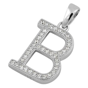 Sterling Silver Letter B CZ Pendant
