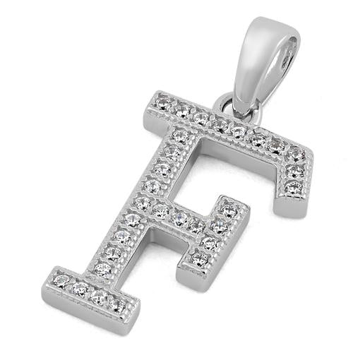 Sterling Silver Letter F CZ Pendant