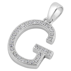 Sterling Silver Letter G CZ Pendant