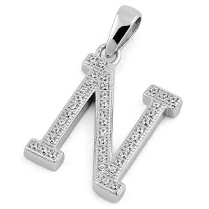 Sterling Silver Letter N CZ Pendant